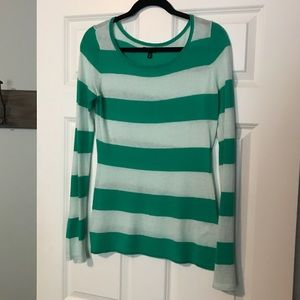 Express- green and mint striped sweater Med